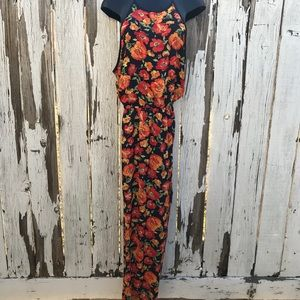 Women's Long Red , Orange and Blue Floral Maxi